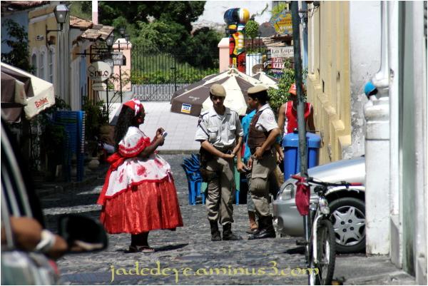 Baiana in local costume with Tourist Police II