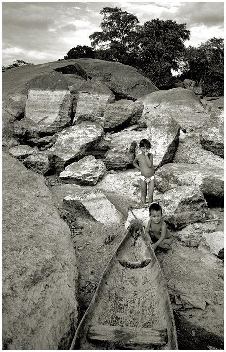 children in Orinoco river