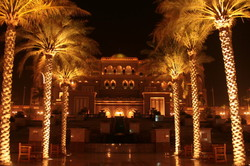 Emirates Palace, entrance, at night.