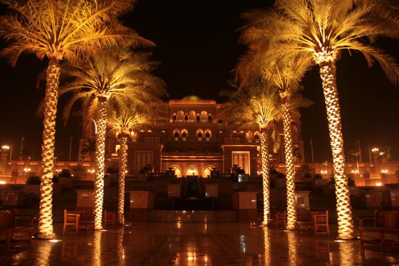 Emirates Palace, entrance, at night.