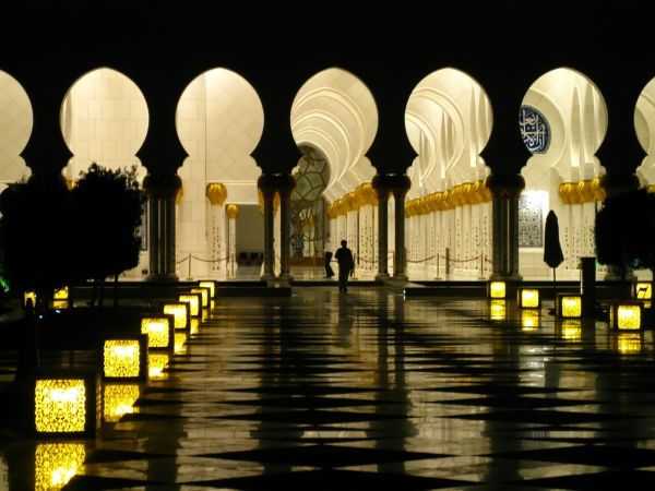 At night - in Sheikh Zayed Mosque