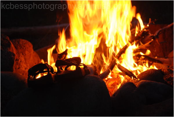 Sandals by fire