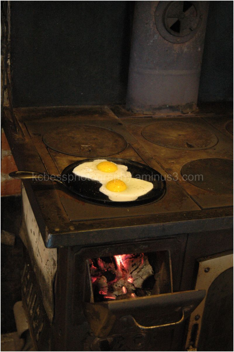 Eggs cooking on old fashion stove