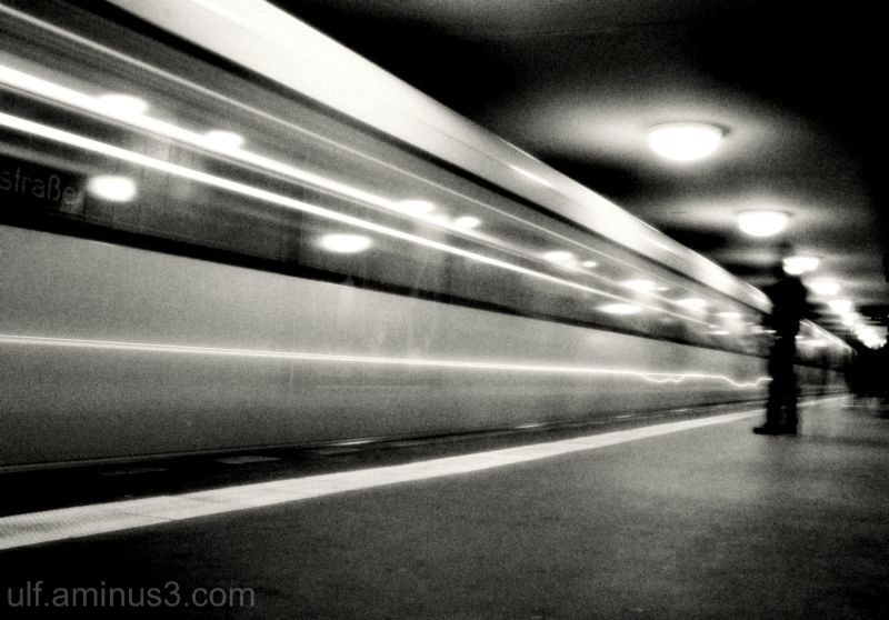 Subway in Berlin, train entering a station