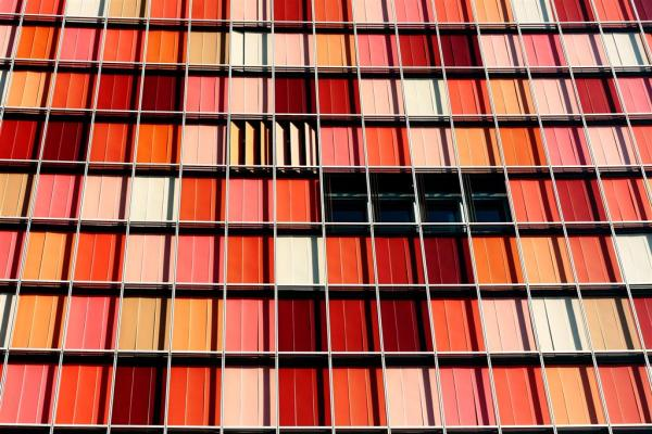 Detail of a colorful facade of a high rise