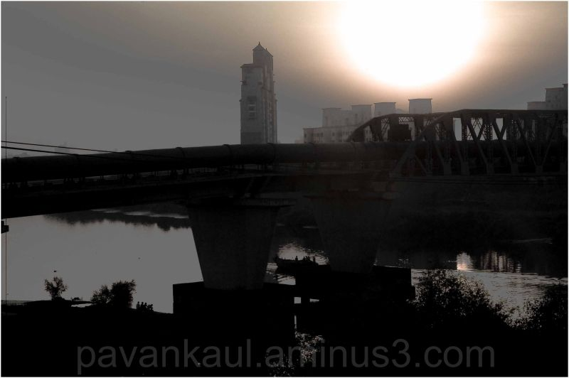 Sunrise over city bridge in Mumbai India