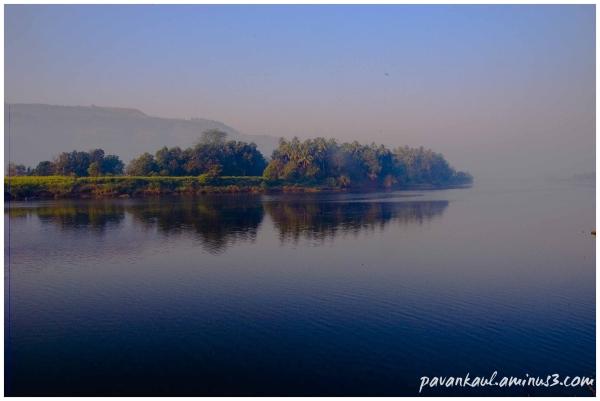 misty morning at lake