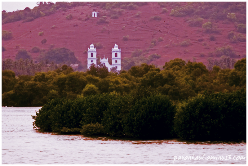 Church across backwaters