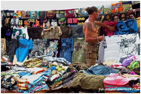 Tourist in Goan flea market