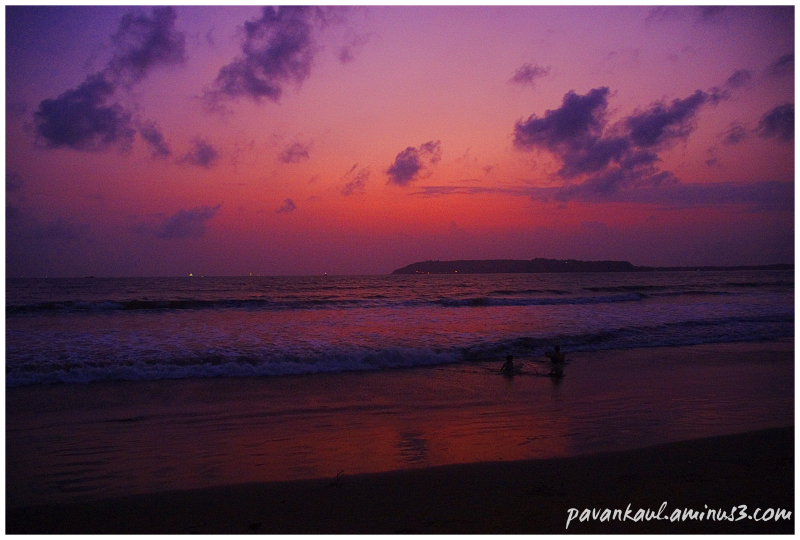 Colorful sunset on Goan Beach