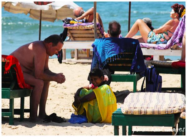 Massage woman at the beach