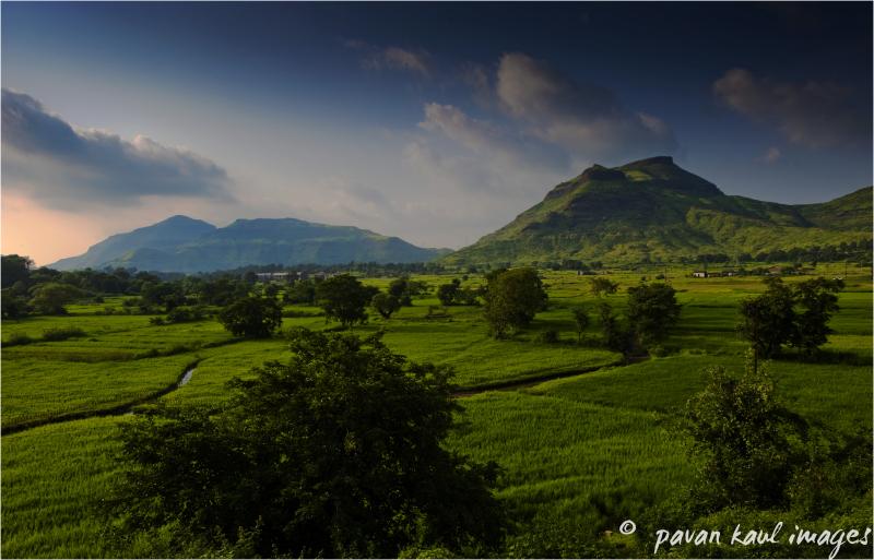 Hills across fields