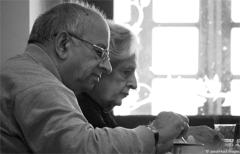 portrait of old couple sharing life