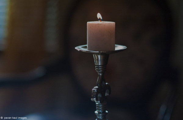 candle in stand