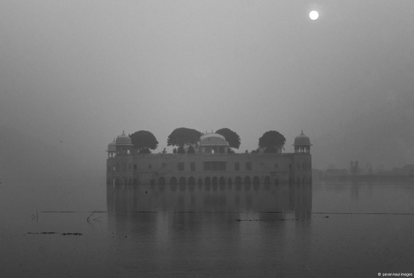 Jal Mahal in monochrome