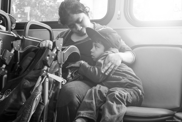 mother and child on a bus