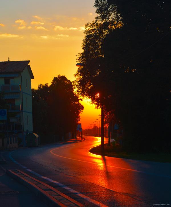 sunset at Tessera Italy