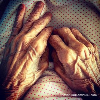 Mom's hands in old age after Alzheimers