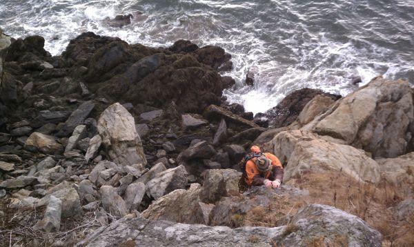 Lucas Campbell Climbing A Sea Cliff