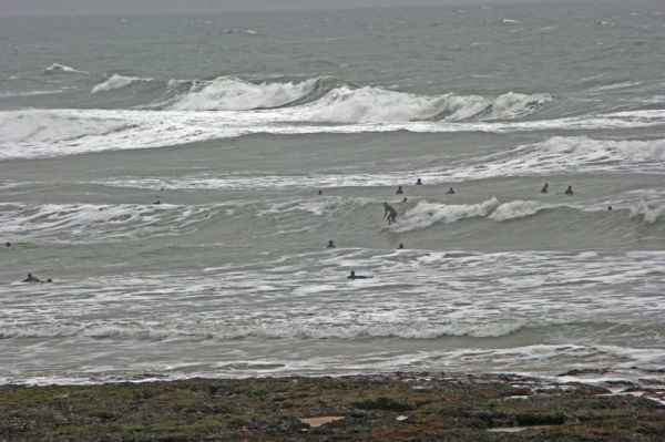 Cold wet winters day yet still they surf