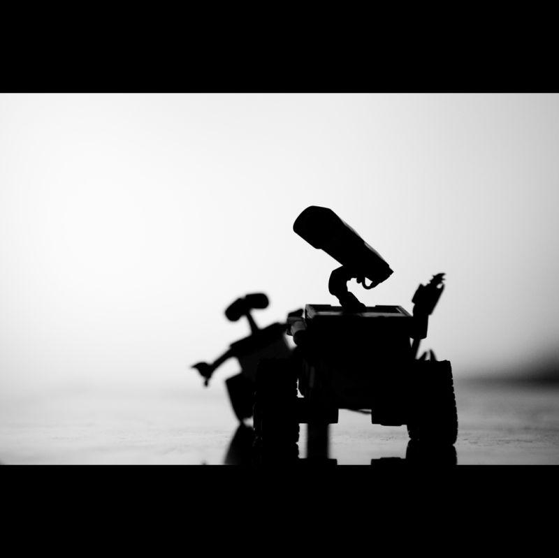 Wall-E's shadow in monochrome