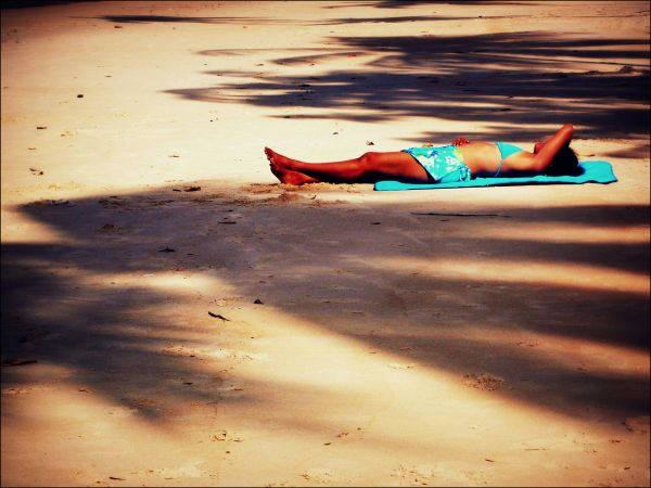 only blue, girl sunbathing, maracas