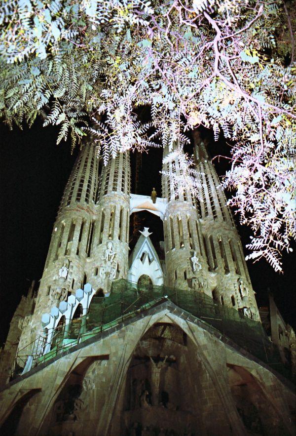 La Sagrada Familia de nuit à Barcelone