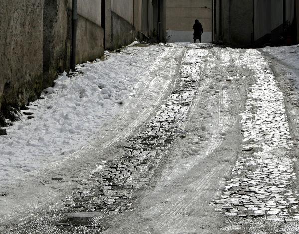 rue de Satriano sous la neige