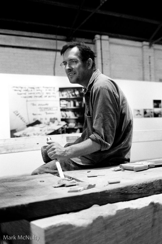 Bill Drummond working at the Liverpool Biennial.