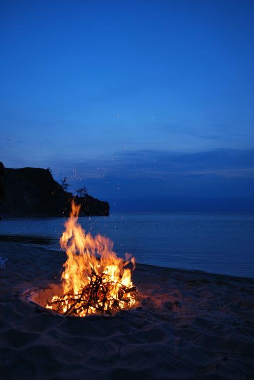 ognisko na plaży