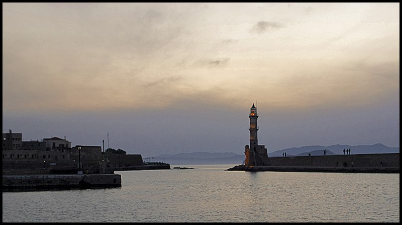 Venetian lighthouse in Chania at sunset