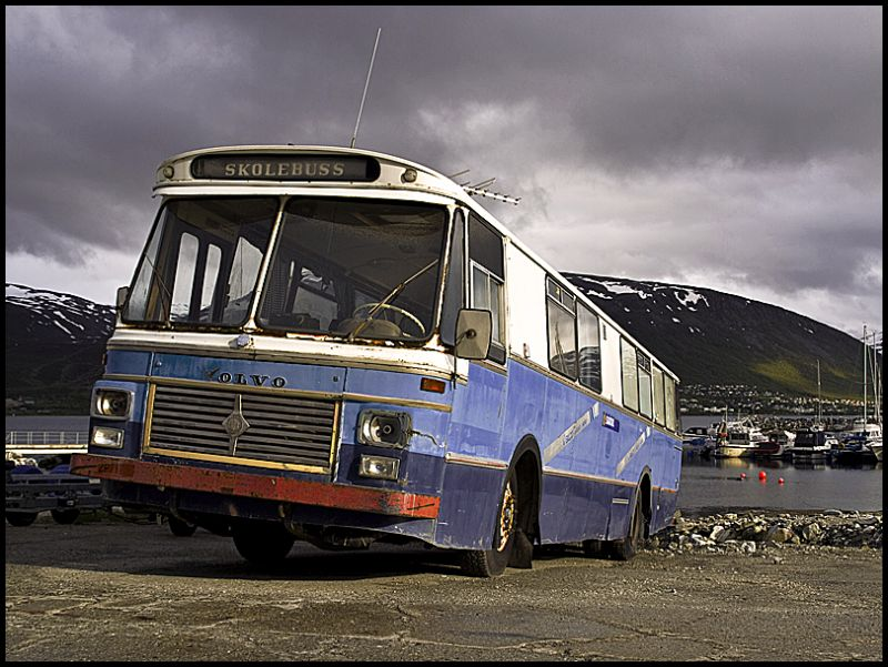 A old beat up school bus in Tromsø