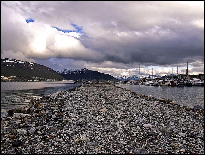 View from Skattøra Marina towards Tromsø city