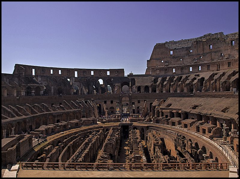 View from inside of the Coloseum in Rome