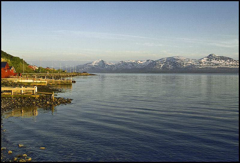 Landscape just outside Tromsø in the midnight sun