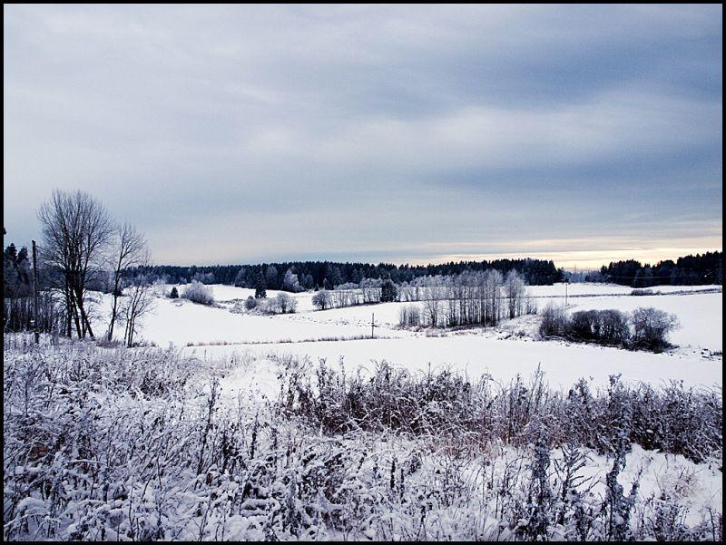 Winter landscape on a farm in Norway