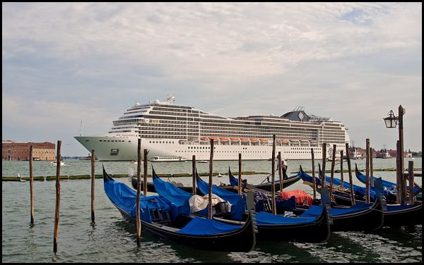 A cruiseship pasing st. marks in venice