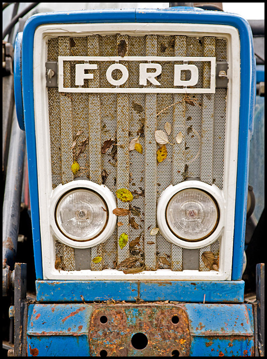 Closeup of an old tractor