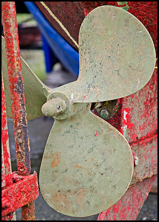 Closeup of a old boat Propeller
