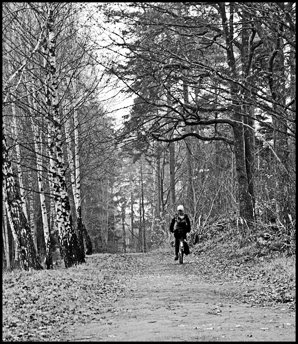 Black and white  picture of bicycle riding