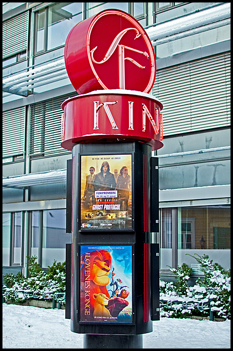 Outside the movie theater in Møllebyen, Moss