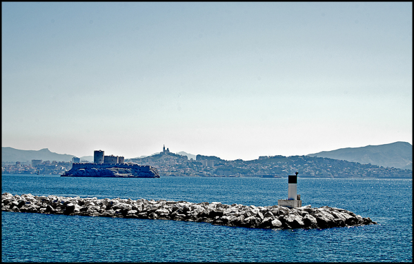 Chateau D'if and Marseille seen from Ratonneau
