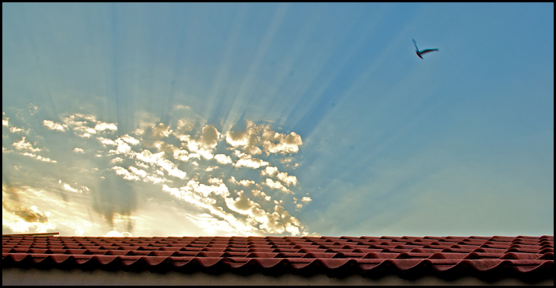 Rays of sun over a roof