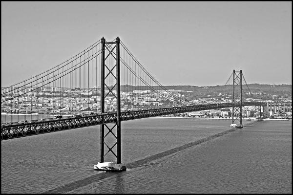 25 de abril bridge in Lisbon in black and white
