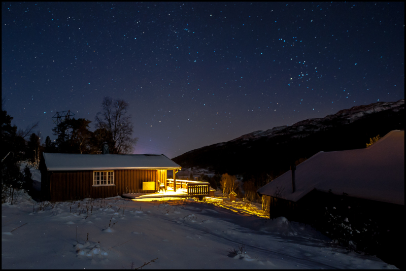Night at the mountain cabin