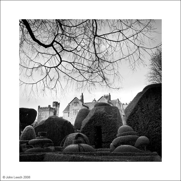levens hall cumbria landscape black and white