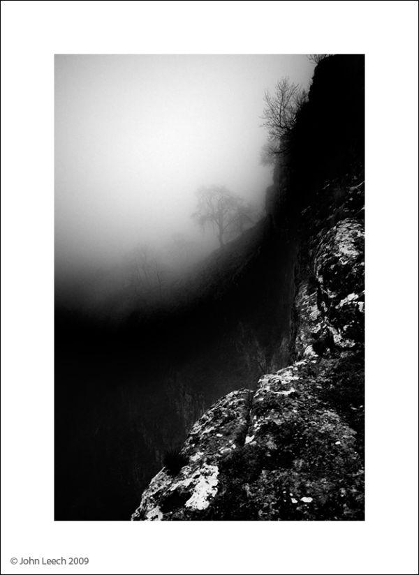 malham cove black and white photograph stark
