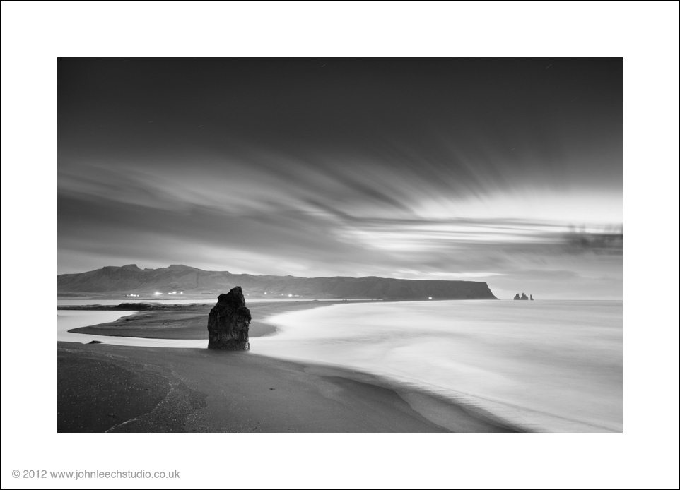 vik dawn iceland black and white