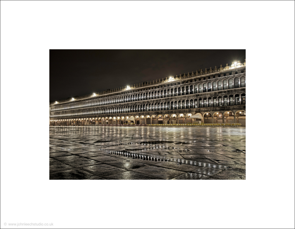 Venice, Saint Marks Square at night in rain