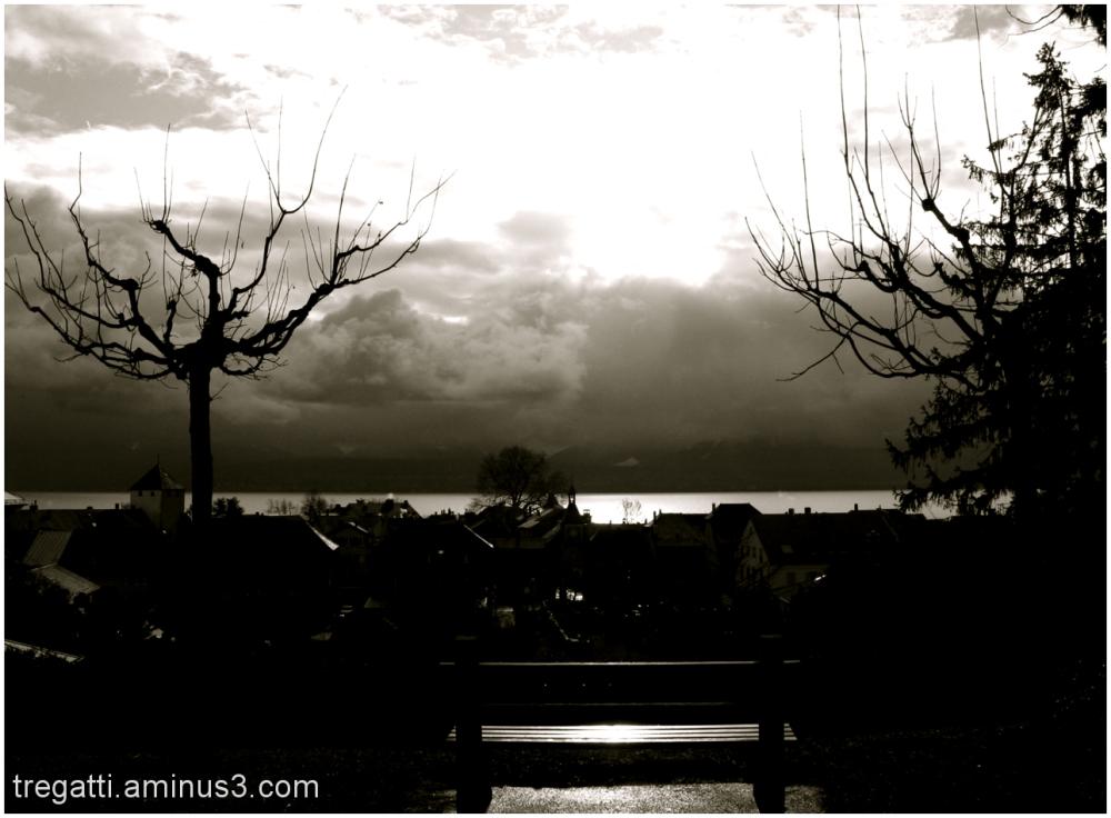 lake, bench, sun
